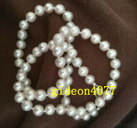 """Classic AAA+ 6-7mm round white akoya pearl necklace 18 """" 14k gold clasp"""