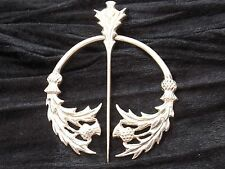 Sterling Silver Brooch  Elaborate Penannular Design with Scottish Thistles 1996