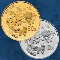 China - Shou Ju Mao Die - Longevity - 80 + 10 Yuan 2018 PP - Gold + Silber
