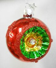 Vintage Style Reflector Witches Eye Glass Ball Christmas Ornament Red 2.25""