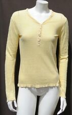 PIETROGRANDE Italy Yellow Thin Linen Slub Knit Henley Tee Shirt Top size S