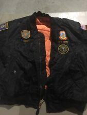 Custom Military bomber Nylon insulated Flight Jacket, Reverse Orange M US ARMY