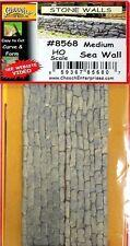 Chooch (HO-Scale) #8568 Sea Wall Medium Stone Flexible Wall (Pkg-2) NIB
