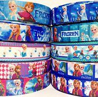 "GROSGRAIN RIBBON 7/8"" & 1"" Frozen Printed 10 YARD MIXED LOT FOR HAIR BOWS f8"