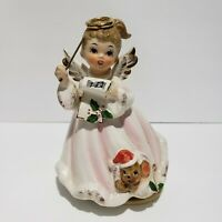 Josef Originals Figurine Christmas Angel Girl Playing Bell Music Not Working