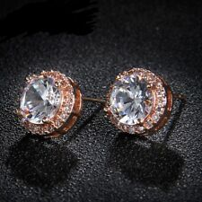 Lovely Rose Gold Plated CLEAR WHITE CZ Crystal NICKEL FREE Stud Earrings Jewelry