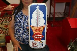 """Rare Vintage 1950's Dairy Queen Ice Cream Restaurant 16"""" Metal Thermometer Sign"""