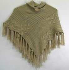 Maurices Women's OSFA High Neck Knitted Fall/Winter Pocho w/ Fringe Tan