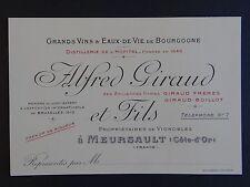 Ancienne carte de visite VIN BOURGOGNE MEURSAULT Alfred GIRAUD old visit card