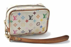 Auth Louis Vuitton Monogram Multicolor Trousse Wapiti Mini Pouch White LV B3542