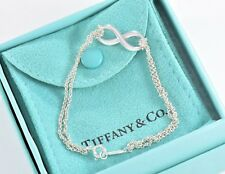 "Tiffany & Co Sterling Silver Double Chain Infinity Love Bracelet 7"" w/ Pouch"