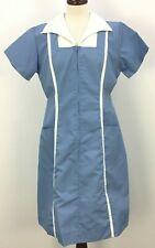 Vtg 70s 80s Angelica Blue Classic Waitress Maid Diner Uniform Dress Womens Sz 38