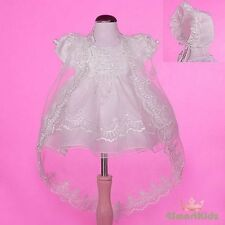Beaded Ivory Baby Baptism Christening Dress Gown Cape Bonnet Wedding Size 1 #008