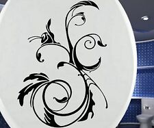 WC Deckel Aufkleber, Toiletten Blumenranken Tattoo, Badezimmer Ornament, 3C027