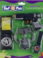 Cop Police Fancy Dress Kids Toy Gun Set Cuffs Badge Watch ID Case by Smiffys