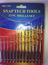 Drill Bit combination HSS. 13pc  HSS Drill Bits Quick Coupling HEX END