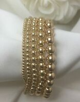 14K Gold Filled Bead Stretch Bracelet • Stackable Bracelet • Variety of Sizes