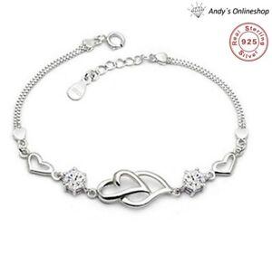 Damen Armband Geschenk 925 Silber Zirkonia Geschenk für Frauen Arm Band Herz