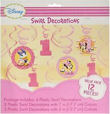 (12) Minnie's 1st Minnie Mouse Hanging Swirl Decorations Birthday Party Supplies