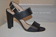 $765 Manolo Blahnik KHAN Double Band Slingback Sandal Block Heel Shoe Black 37