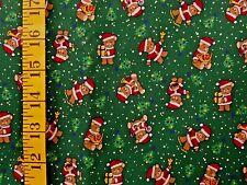 CHRISTMAS PRINT TINY TEDDY BEARS ON GREEN 100% COTTON FABRIC BY THE 1/2 YARD