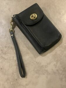 Vintage COACH Legacy Classic Wristlet with Brass Turn Lock Black Leather Rare