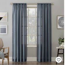 No. 918 Amalfi Linen Blend Textured Sheer Rod Pocket Curtain Panels Set Of 2.