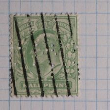 Great Britain sc#127 sg#216 half penny 13.5x14 perf unlisted variety used Perfin