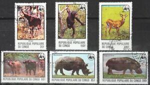 CONGO WWF ANIMAL RHINO CHIMPANZEE etc full VFU set (6) 1978 #453-8 Mi 630-5