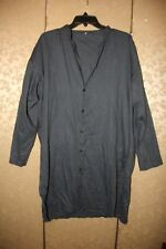 Eskandar Blue Dark Chambray Cotton Side Chest Pocket Button Down Tunic Top 1