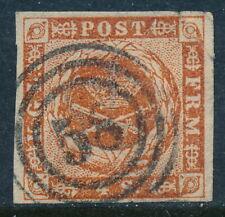 Denmark Scott 4/Afa 4, 4 sk brown imperf, Vf used numeral cancel 58