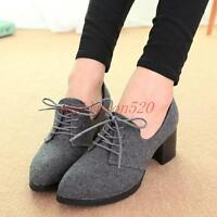 Vintage Womens ladies chunky heel lace up pointy Casual Oxford shoes