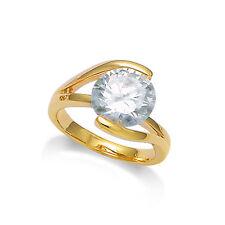 Dolly-Bijoux Bague T56 Sertie Diamant Cz 10mm Multifacette Plaqué Or 18K 5Micron