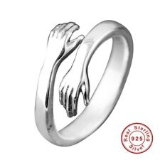 Ring Sterling Silver Solid 925 Hug Ring Open Hands Wrap Adjustable Ring Gift