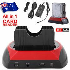 """HDD Docking Station 2.5"""" 3.5"""" Dual Slots USB 2.0 SATA IDE Hard Drive Card Reader"""