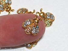 2pc. Miniature dollhouse tiny Golden Flatbacks Crystal Bumble Bee Ladybug 10x9mm