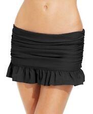 Island Escape Ruffled Black Swim Skirt in Size 10