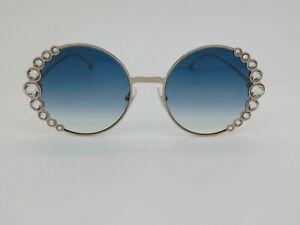 FENDI FF 0324/S 3YG/08 Light Gold/Blue Gradient Crystal Authentic Sunglasses