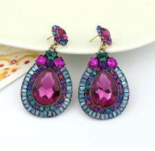 Women Betsey Johnson Crystal jewelry Purple big Water Drops Stud Earrings Retro