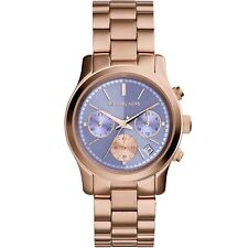 NEW MICHAEL KORS MK6163 LADIES LILAC ROSE GOLD RUNWAY WATCH - 2 YEAR WARRANTY