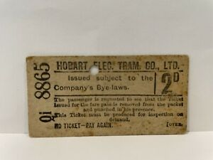 Hobart Electric Tram Co Ltd 2d Ticket Extremely Rare