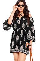 Woman's New Plus Size Floral Print Bardot Neck Off-shoulder Dress / Blue / Black
