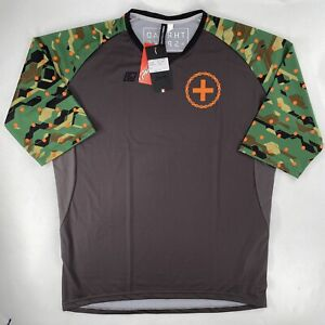 Thread + Spoke Mens Large Team Freeride Jersey 3/4 Sleeve DNA Cycling Camo