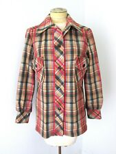 VGC Vtg 60s 70s Brown Red Plaid Cotton Linen 49er Jacket Blouse Top Shirtjac 14