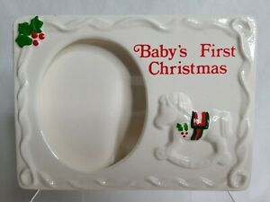 """Vintage RUSS Baby's First Christmas Ceramic Picture Frame 3.5"""" x 5"""" Photo MIB"""