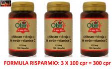OBIRE CHITOSANO + TE' ROSSO + TE' VERDE 300 Cpr DRENANTE FORMULA BRUCIAGRASSI