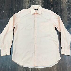 HUGO BOSS Striped Dress Shirt 16.5 36/37 Button Front Ribbed Cotton Salmon Pink
