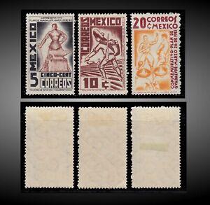 1938 MEXICO BLACKSMITH REVOLUTIONARY SOLDIER ENVOY MINT H SCT.737-739 MI.743-745