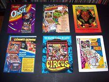 Lot (6) ORIGINAL GOTTLIEB 1970s - 1980s PINBALL MACHINE Flyers Circus set #45
