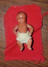 "Vintage 2"" Brunette Boy Doll With Strung Arms and Legs Made in Hong Kong"